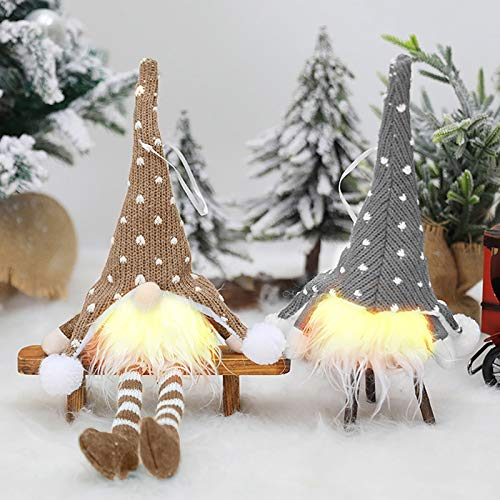 Gnome Christmas Decorations with LED Light, 2 Pack Scandinavian Santa Elf Plush Table Ornaments, Nordic Xmas Decoration (Christmas gnome Lights Ornaments Pendant 2)
