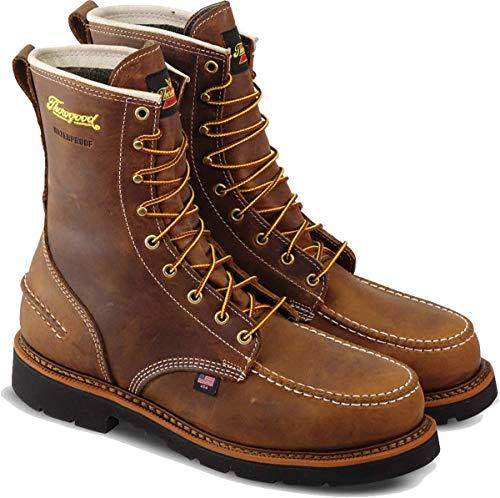 "Thorogood 804-3898 Men's 1957 Series - 8"" Moc Toe, MAXWear90 Waterproof Safety Toe Boot, Crazyhorse - 9.5 M US"