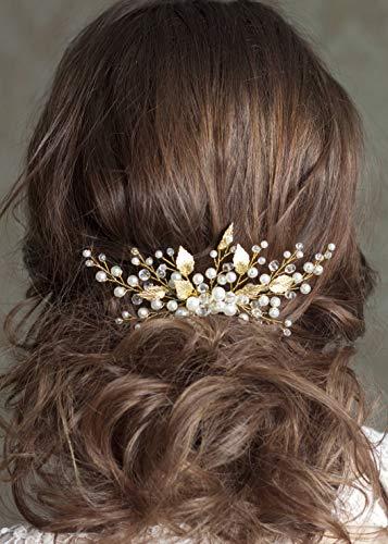 Handgefertigter Haarkamm mit Kristallperle und Blatt für Hochzeitsbrautjungfer, Kopfschmuck für Abschlussball(Gold)