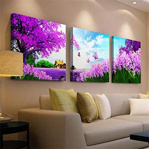 Mr.Zhang's Art Home Painting 60 * 60 * 2.5 cm Salon Violet Peinture canapé Fond Peinture Murale Nordique triptyque Restaurant
