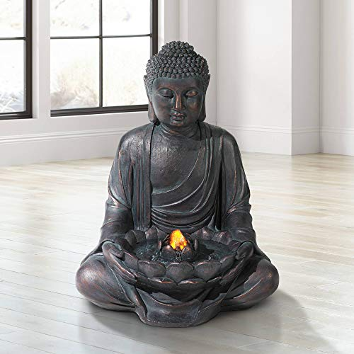 Lamps Plus Zen Buddha Outdoor Water Fountain LED Light Meditating for Yard Garden - John Timberland