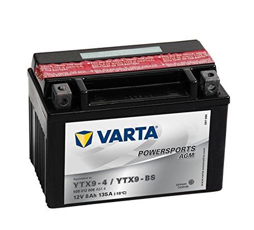 58010 Varta 508012008A514 Powersports AGM Motorradbatterie, 12 Volt - 8Ah, YTX9-BS