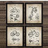TeriliziCartel Vintage Bicicleta Patente Imprimir Diseño De Bicicleta Arte De Pared Pintura De Lona Invención De Bicicleta Fotos Retro Decoración del Hogar-30X40Cmx4Pcs Sin Marco