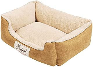 Happy Tails Faux Linen Cuddler Bed for Pets 21 by 17-Inch Khaki [並行輸入品]