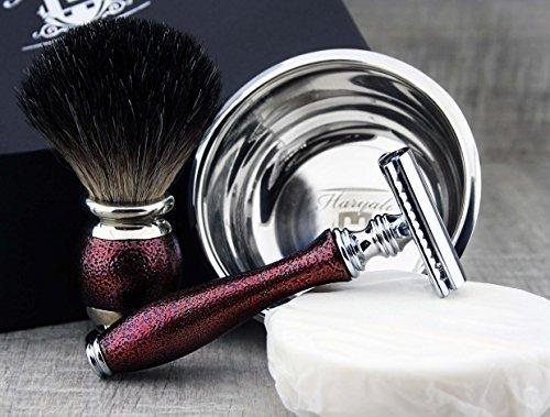 Rasurset, Kastanienbraun mit Dachshaar Pinsel & De Rasierhobel mit Schale und Seife Abbildung 2