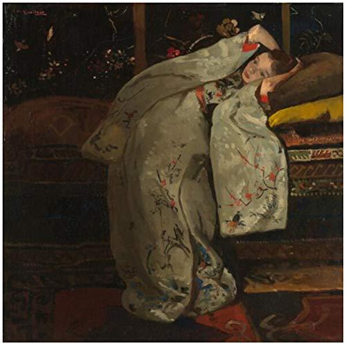 Meisje in een witte Kimono Wall Art Canvas schilderijen van George Hendrik Breitner Reproducties Foto's voor Woonkamer Decor-60x60cm-Geen Frame