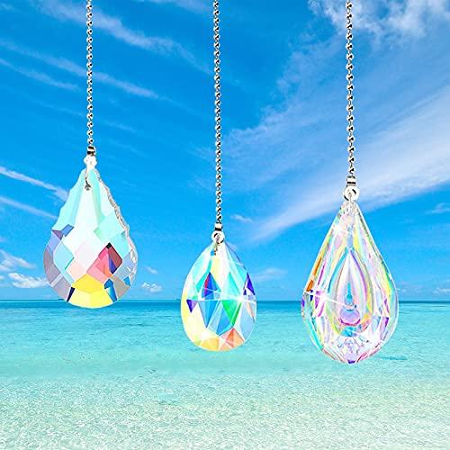 3pcs Cristal arcoíris,Bola de Cristal Colgante de Cristal, Arcoiris de Cristal,Colgantes de Cristal,Cristal de Ventana Colgante,Prisma de Bola de Cristal Arcoiris,Cristal Colgante para Ventana (Color)