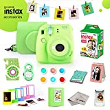 Fujifilm Instax Mini 9 Bundle (Lime Green) - Fuji Camera Instant Film (20 Sheets) + 11-in-1 Accessory Bundle – Carry Case, 6 Color Filters, 2 Photo Albums, Assorted Frames, Selfie Lens & Much More