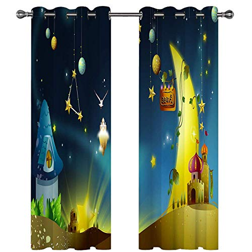 3D Blackout Curtains Digital Printing Curtains Suitable For Balcony, Kitchen And Bedroom No Need To Punch 2 Pieces