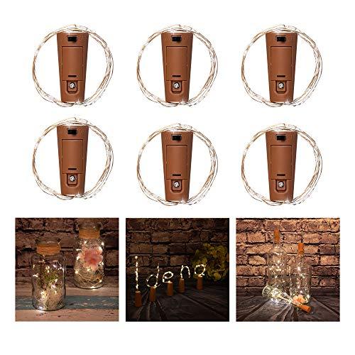 Idena 31039 – Luces de botella, micro cadena con 10 luces LED de color blanco cálido, alambre de cobre con tapón de corcho, para bodas, fiestas, decoración, Navidad, como luz de ambiente