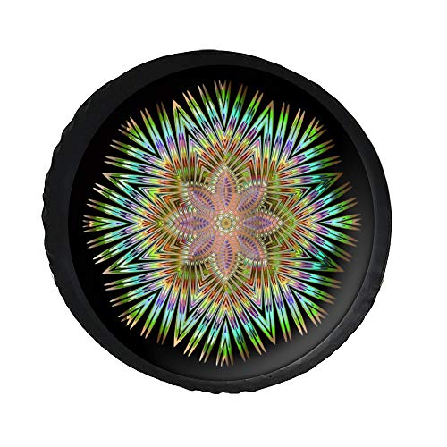 """DONL9BAUER Spare Tire Cover Psychedelic Man-dala Universal Leather Spare Wheel Cover Boho Flower Sunproof Tire Covers for Je_ep Trailer RV SUV Truck Camper Travel and Many Vehicles(14"""" 15"""" 16"""" 17"""")"""