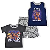 Nickelodeon Paw Patrol Boy's 3-Piece Short Set with Graphic Tee, Sleeveless Shirt and Shorts