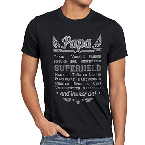 style3 Papa Vorbild Superheld und Immer da! Herren T-Shirt Vater Vatertag Trainer, Größe:XL;Farbe:Schwarz