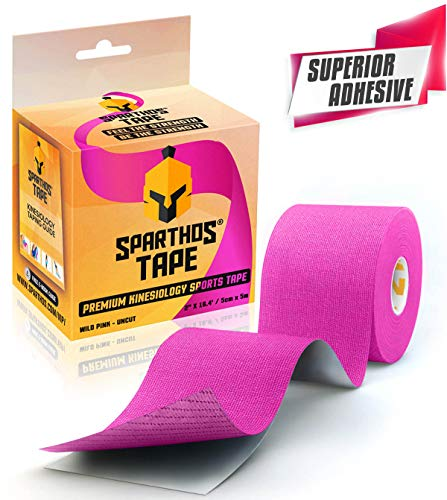 Sparthos Kinesiology Tape - Incredible Support for Athletic Kt Sports and Recovery - Free Kinesio Taping Guide! - Wrap Neck Body Pain Skin Strips Medical Water Proof Boobtape Pro - Uncut (Pink)