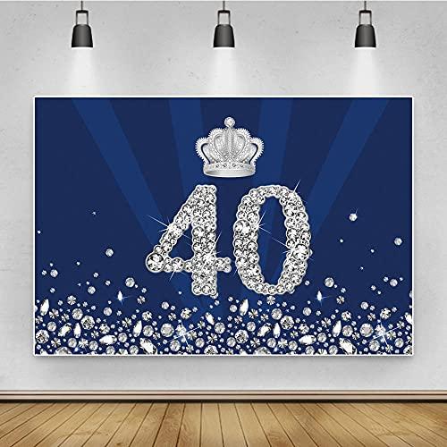 Fondo de fotos de plata corona para fiesta de cumpleaños 20 30 40 50 años lentejuelas diamantes guisantes azul príncipe fondo para fotografía-3 x 2 m