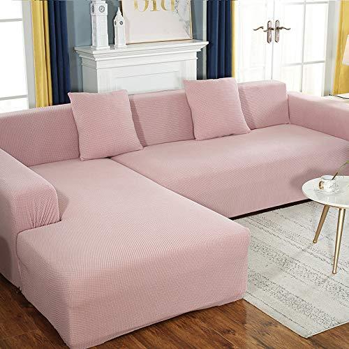 zyl Copridivano Elasticizzato,1/2/3/4 Posti Copridivano Sofa per Divani Universali Soggiorno Fodera Componibile A Forma di L,Pink-1seat:90-140cm