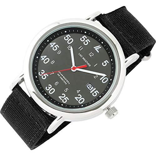 [ラドウェザー] 腕時計 メンズ 電池不要のソーラー搭載 ミリタリーウォッチ メンズ レディース 時計 (01.ブラック×ブラック)