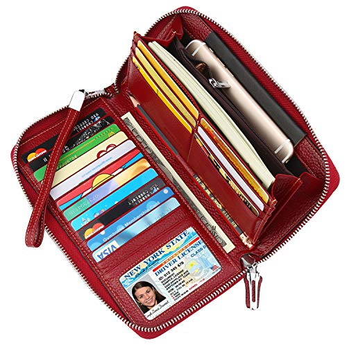 Lavemi Women's RFID Blocking Leather Zip Around Wallet Large Phone Holder Clutch Travel Purse Wristlet(Large Size Deep Red)