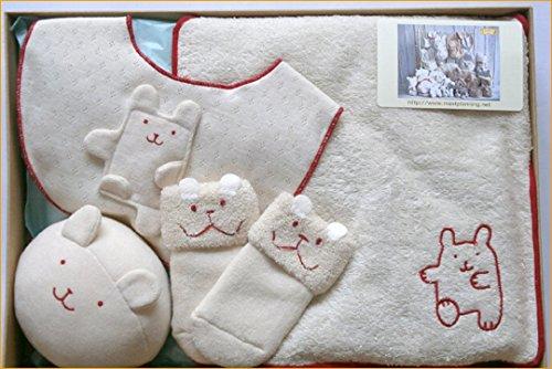 オーガニックコットン 出産祝いギフト ベビー服 ギフトセット スタイ タオル ボール 靴下 ベビー用品=日本製=出産祝いやギフトにもどうぞ (うさぎさ