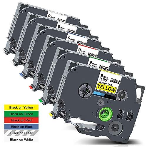 Xemax kompatibel Etikettenband 9mm x 8m Ersatz für Brother P-Touch Tze-121 TZe-121 TZe-421 TZe-521 TZe-621 TZe-721 Laminiert Kassette Bänder für PT-H110 PT-H101C PT-1000 PT-H100LB PT-D400VP, 6er-Pack