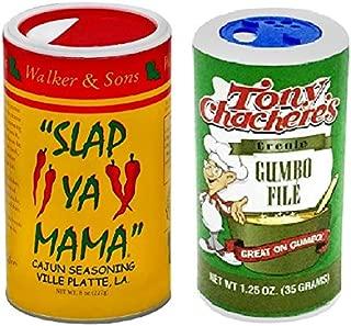 Cajun Creole Cooking Bundle - 1 each of Slap Ya Mama Cajun Seasoning 8 Ounce and Tony Chachere's Gumbo File 1.25 Ounce Canisters