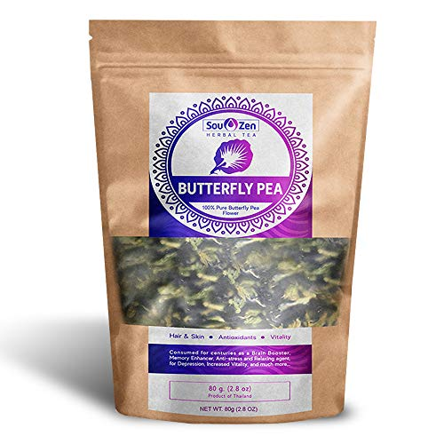Sou Zen Butterfly Pea Flowers (80 g) Dried Tea Leaves | Natural, Raw Drink Mix w/ Antioxidants, Organic Nootropics | Promotes Relaxing Calm, Stress Relief | Thai Herbal