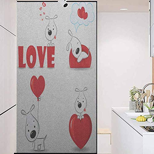 """3DStaticClingWindowFilmSelfAdhesiveGlassSticker, Love Set of Funny Dogs with Heart Symbols My Pet Best, Home Window Tint Film Heat Control, 17.7"""" Wx78.7"""" Linches"""