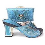 ER-Hoesing Calzado italiano con emparejar zapatos y bolsa zapatos Bolsa Damas Conjunto a juego y Bolsa Italia para la boda Sky Blue 41