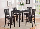 East West Furniture 5-Piece Gathering Table Set, Black Finish