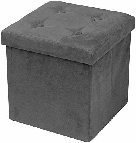 (Gray) - Sorbus Faux Suede Storage Ottoman Cube-Foldable/ Collapsible with Button Lid Cover-Perfect Hassock, Foot Sto...