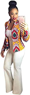 Women's Dashiki Fashion African Style Print Long Sleeve Slim fit Casual Coats Short Jackets