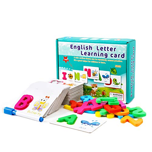 Sinrida Alphabet Flash Cards Learning Game, Wooden 26 Letter Alphabet Writing and Learning Cards for Toddlers Kids ABC Alphabet Jigsaw Puzzle Toys for Preschooler Boys and Girls