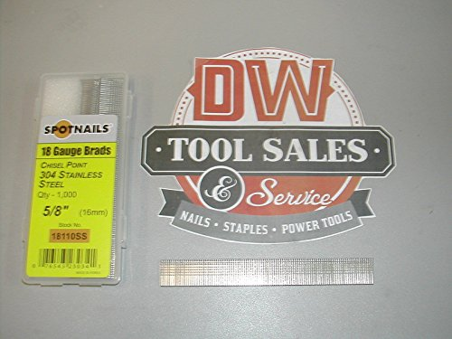 """18 Gauge 5/8"""" Inch Brads Stainless Steel Brad Nails (1,000) 18110SS"""