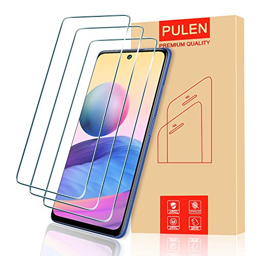 PULEN [3 Pack] para Xiaomi Redmi Note 10 5G/ Xiaomi Poco M3 Pro Protector de Pantalla Cristal Templado [Anti Arañazos] 9H Dureza Lens Film Protective Screen Protector