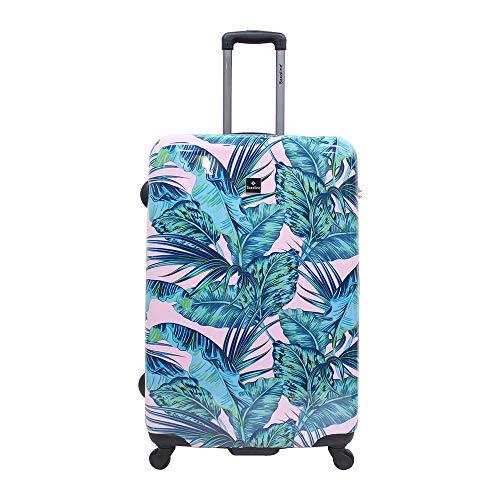 Saxoline Koffer Hartschale Pink Jungle TSA 4 Rollen Größe L Trolley Hartschalenkoffer Reisekoffer