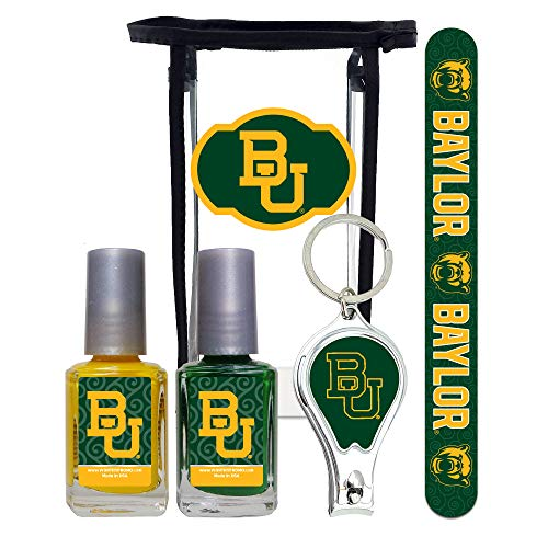 Baylor Bears Manicure Pedicure Set with 7-Inch Nail File, Nail Clippers, 2 Nail Polishes in Team Colors, and Toiletry Bag for the Whole Kit. NCAA Gifts and Gear for Women