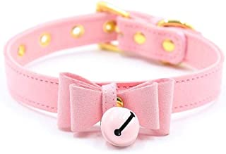 PU Leather Bow Collar Necklace Choker with Bell Cat Cosplay Kitty Necklace with Elegant Box