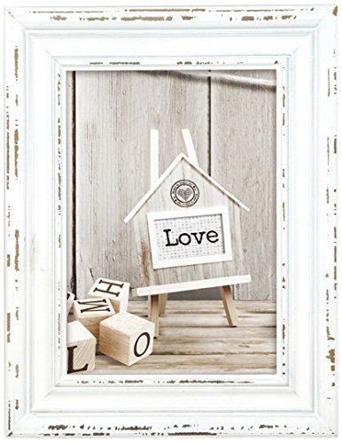 Zep SY946W Bilderrahmen Rivoli, Holz, 10 x 15 cm, Weiß, Beige, 10 x 15 cm