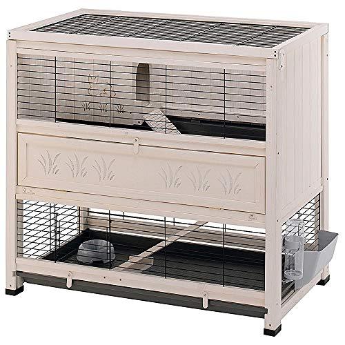 Ferplast Conigliera COTTAGE in legno FSC, Gabbia per conigli, Due piani spaziosi, Accessori inclusi