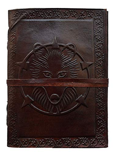 Writing Journal to Write in Special Wolf Leather Book of Shadows Notebook Sketchbook Notepad Office Personal Diary - Eco Friendly Unlined Blank Pages Gift for Men Women grimoire Journal 7x5 Inc