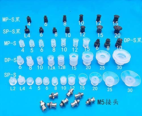 LLine 10Pcs Kleine kop drielaags vacuüm pneumatische componenten siliconen zuignap serie wit zwart zuignappen, DP S15