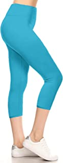Leggings Depot Higher Waist Women's Buttery Soft Solid Yoga Capri Leggings - Many Colors