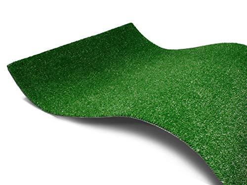 Kunstrasen-Teppich Rasenteppich SPRING mit Drainage - 2,00m x 0,50m, Grün, Outdoor Bodenbelag für Balkone und Terrassen, Florhöhe ca. 7 mm, UV-beständiger, Wasserdurchlässiger Balkon Kunst-Rasen