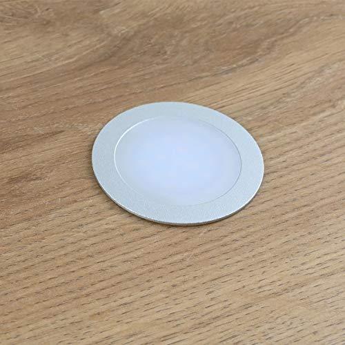 VBLED® Mini LED Einbaustrahler deckenleuchte Einbauleuchte extra flach (12 mm Einbautiefe) Aluminium eloxiert matt warm-weiß 0,9W Dimmbar 12V IP67 für badezimmer lampe küchenlampe aussenleuchten