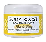Body Boost Milk & Honey Sugar Scrub 8 oz- Treat Dry Skin Stretch Marks and Scars- Pregnancy and Nursing Safe- Allergen Free