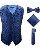 SuiSional Navy Blue Vest for Men Casual Slim Fit Dress 5 Button Suit Waistcoat,Blue,2XL