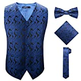 British Slim Fit Suit Vest for Guys on Formal or Informal Occasions,Blue,5XL