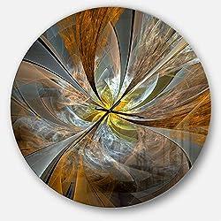 Designart Yellow Symmetrical Fractal Flower' Oversized Modern Metal Clock, Circle Wall Decoration Art, 38x38 Inches
