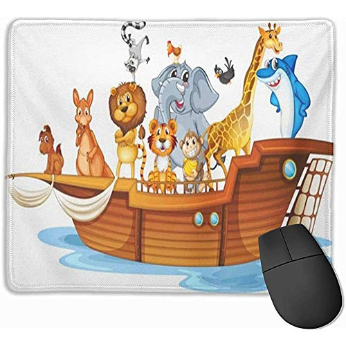 Gaming Mouse Pad, Schreibtisch Mousepad, Maus Mat Kangraoo von vielen Tieren auf Boot Noah Schiff Arc Bird Cartoon Chicken Clipart