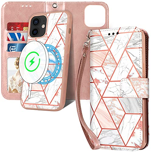 CASEOWL Compatible with iPhone 12 Case and iPhone 12 Pro Wallet Case Magnetic Detachable [Support Magsafe Charger] with Card Slots,RFID Blocking,Hand Strap,Luxury Leather Flip Folio Wallet Case,Pink